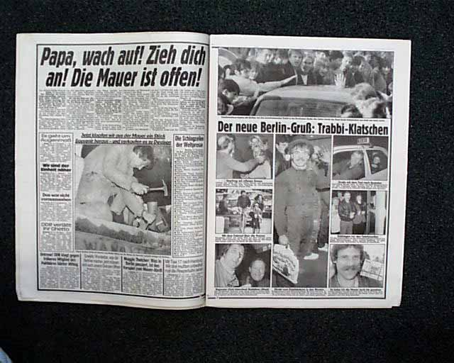 Berlin Wall Falls Berlin Newspaper Rarenewspapers Com