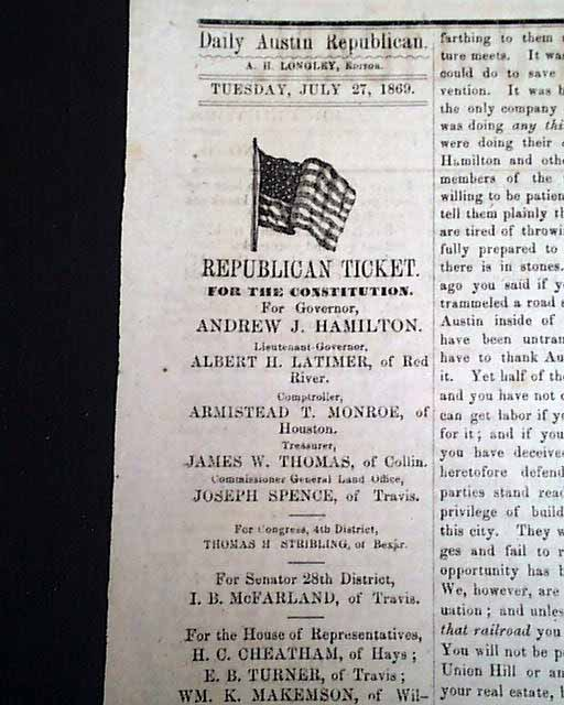 Early Texas newspaper...