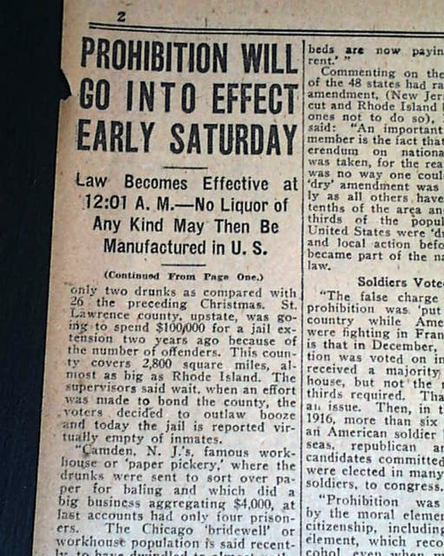 Go Back > Gallery For > Prohibition Newspaper 1920 Prohibition 1920 Signs