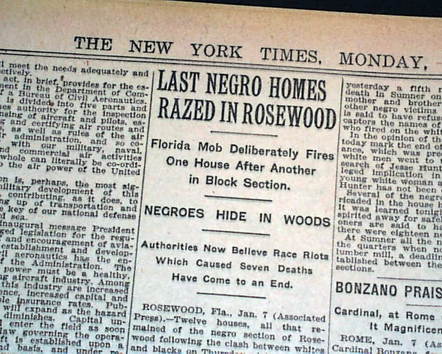 Rosewood  Florida    negro massacre report    - RareNewspapers com