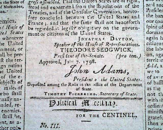 an overview of the sedition act of 1798 What conditions provided the impetus for the sedition act partisan animosity was strong during adams's presidency the first two political parties in the us.