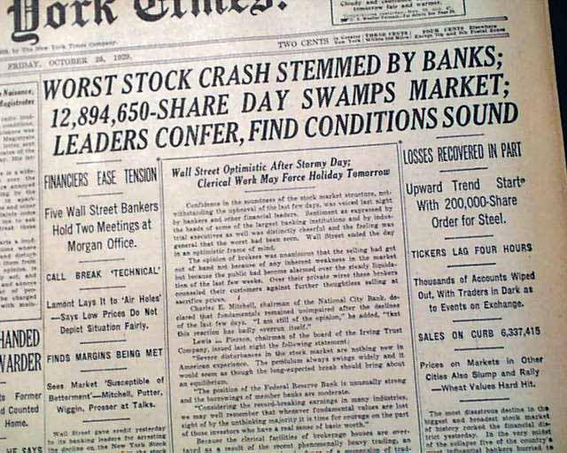 Stock market crash date