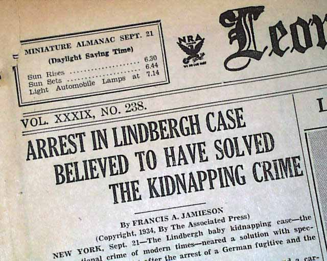 Image result for bruno hauptmann arrested in the lindbergh baby case