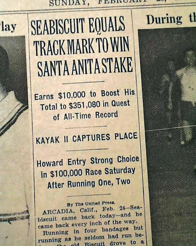 Racehorse Seabiscuit Last Race In 1940 Rarenewspapers Com