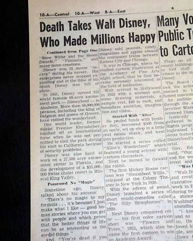 Death of Walt Disney, in a Los Angeles County newspaper ...