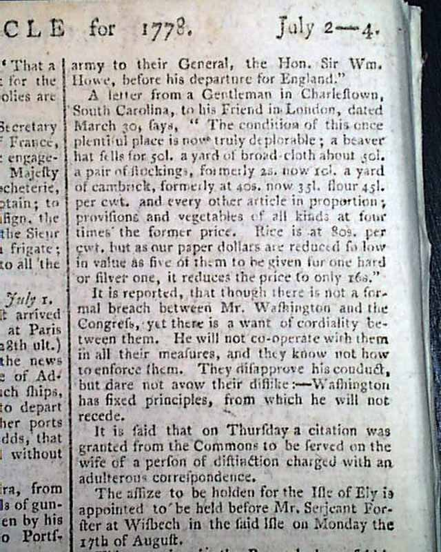 1778 GENERAL GEORGE WASHINGTON Revolutionary War Gen. William Howe OLD