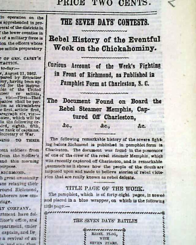 Clarksville TN Seven Days 1862 Civil War NY Newspaper