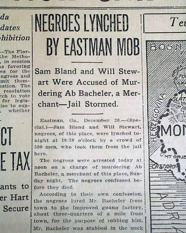 1915 atlanta ga old newspaper eastman georgia negroes