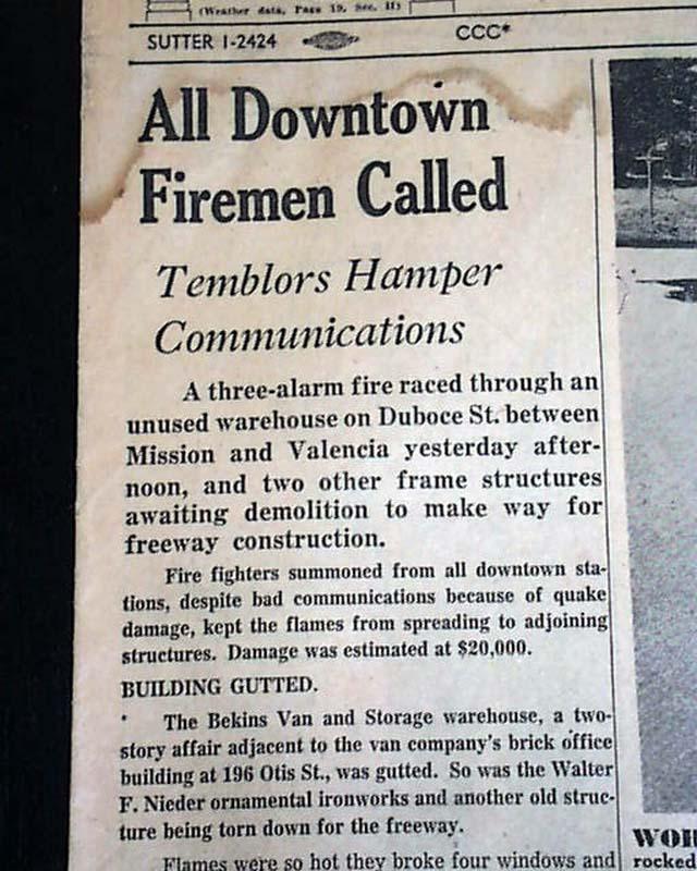 1957 San Francisco Earthquake Rarenewspapers Com