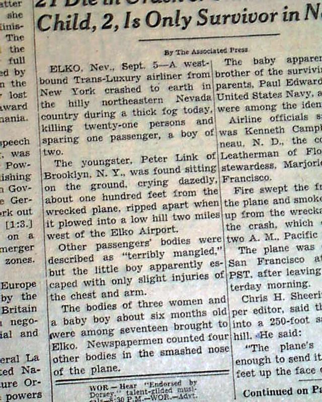 1946 Elko NV airplane crash...