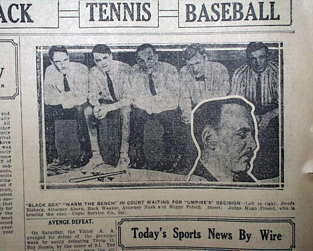 the black sox scandal Jackson wasn't the only black sox player to talk to the press in the years following the scandal in the fall of 1956, chick gandil sat down with los angeles-based sportswriter melvin durslag for a tell-all exposé about the 1919 world series fix that appeared in sports illustrated6 gandil's rambling, self-serving interview made national.