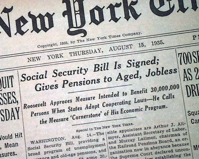 an analysis of social security acts of 1935 This paper discusses the social security act of 1935, describing factors that led to the development of the legislation (history) including.