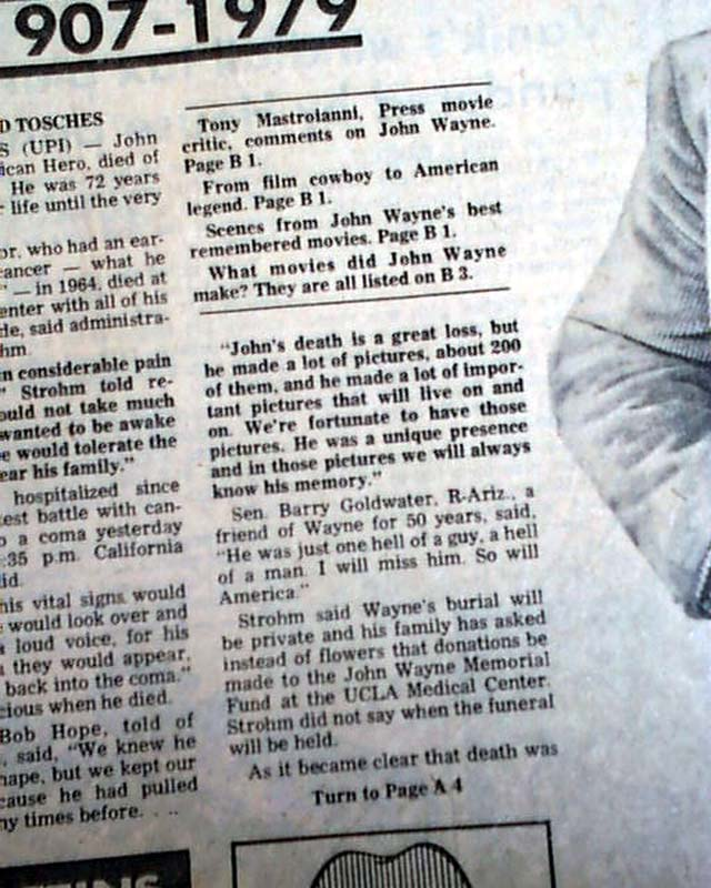 Death of actor John Wayne...