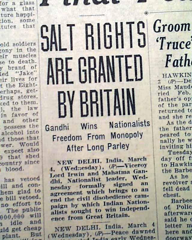 Gandhi-Irwin Pact in 1931...
