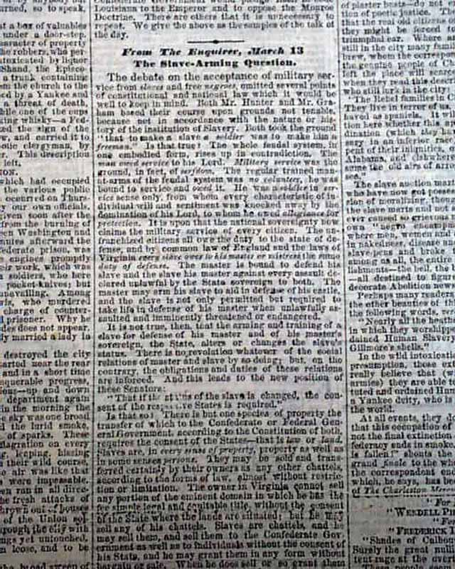 BATTLE OF WYSE FORK Kinston NC North Carolina 1865 Civil War Newspaper