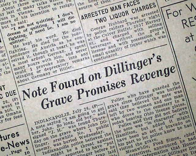 john dillinger research paper Free research that covers introduction john herbert dillinger, the most notorious bank robber in the history of the united states, attracted many imaginations and baffled the minds of a.