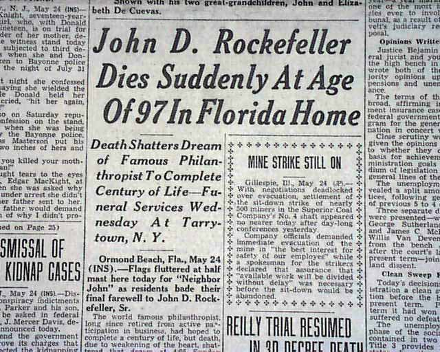 Image result for the death of john d rockefeller