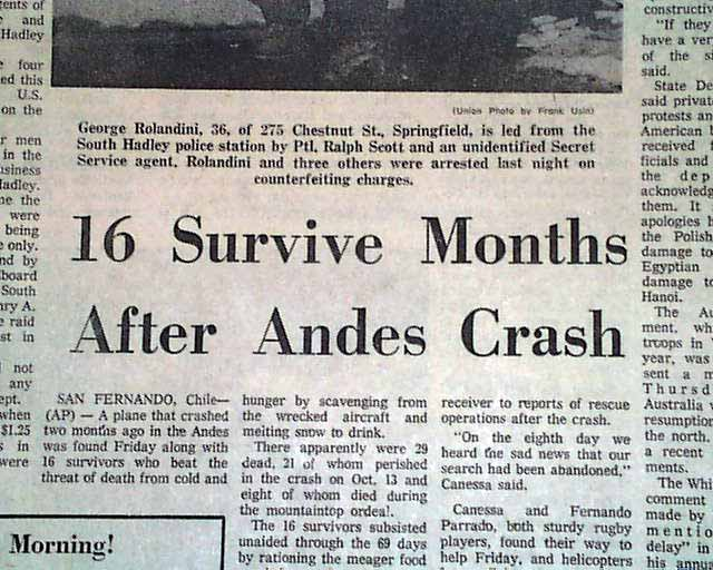 Miracle in the Andes... Flight 571 rescue... - RareNewspapers.com