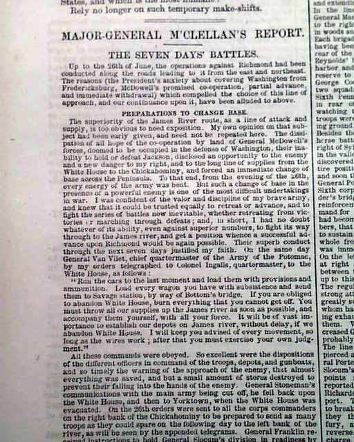 SEVEN DAYS BATTLES George McClellan Civil War Newspaper