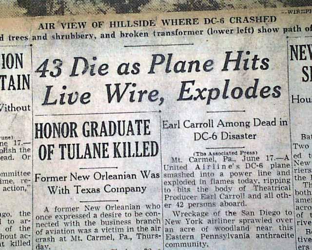 Flight 624 Airplane Disaster Rarenewspapers Com