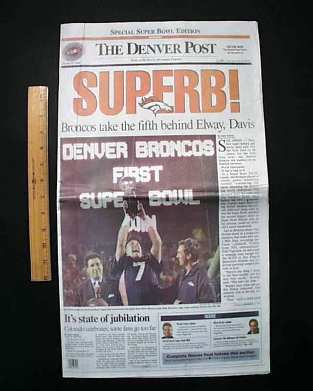 Denver Post Super Bowl Front Page 1998 : DenverBroncos