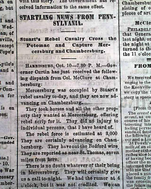 Mercersburg PA 1862 Cincinnati Ohio Civil War Newspaper