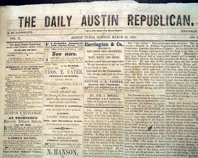 Rare 1870 AUSTIN TX Texas Post Civil War Southwest ...