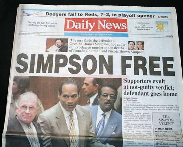 "O.J. Simpson found ""not guilty""... - RareNewspapers.com