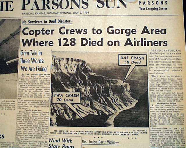 the 1956 grand canyon mid air #onthisday in 1956, two planes collide over the grand canyon by aircrashmayday - june 30, 2016 facebook twitter google+ both aircraft collided in mid-air first contact involved the centre fin leading edge of the constellation and the left aileron tip of the dc-7.