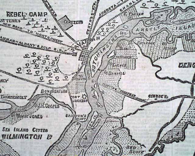 Civil War Map Of The Savannah Hilton Head Region