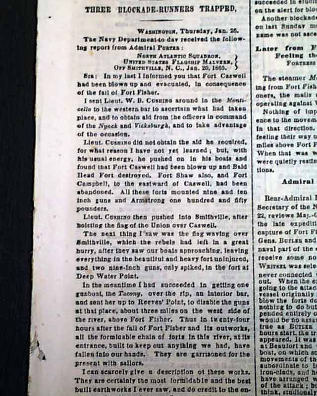 Smithville Southport 1865 Civil War Newspaper Fisher
