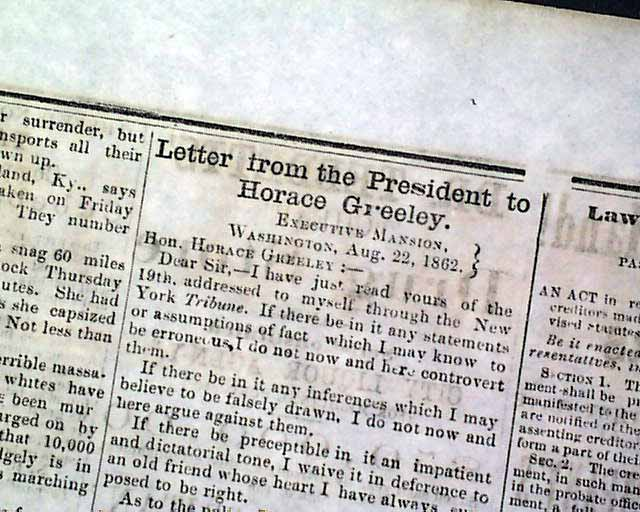 ABRAHAM LINCOLN Letter to Horace Greeley 1862 Civil War Old