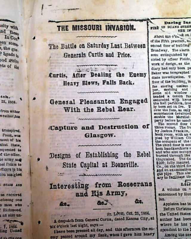 Battle of Cedar Creek Philip Sheridan vs Jubal Early 1864 Civil War Newspaper