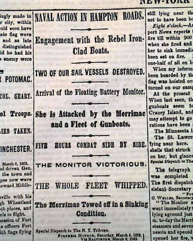 Monitor vs Merrimack Ironclads 1862 Civil War Newspaper
