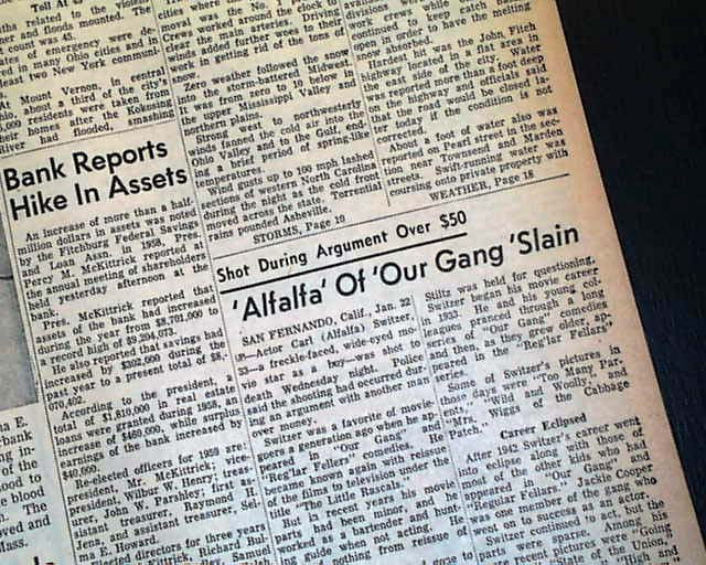 ALFALFA Carl Switzer OUR GANG Murder 1959 Old Newspaper