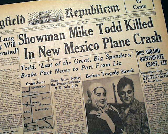 Mike Todd (Elizabeth Taylor's husband) airplane crash ...