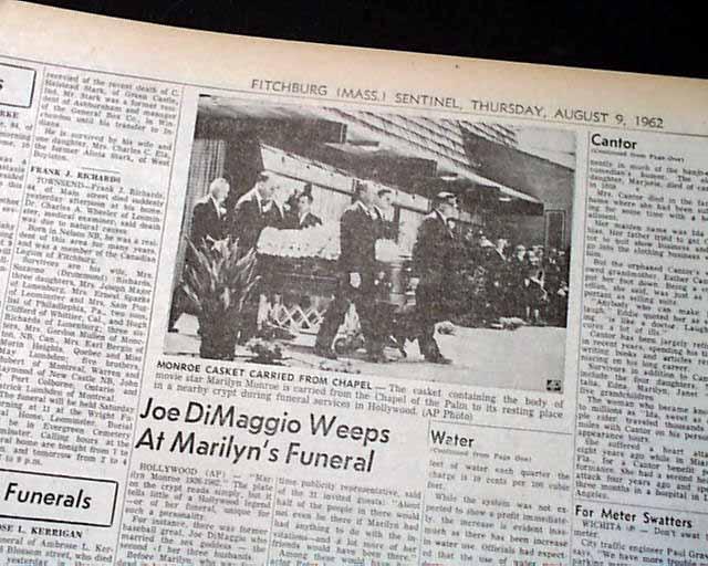 MARILYN MONROE DEATH Joe DiMaggio at Funeral 1962 ...
