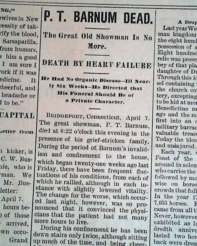 Death of P. T. Barnum...