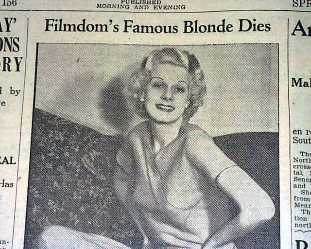 Death Of Jean Harlow 1937 Rarenewspapers Com