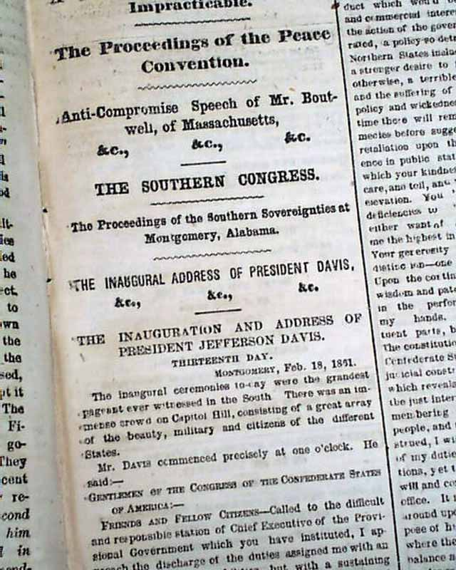 lincoln and davis inaugural addresses President abraham lincoln and jefferson davis confederacy, were inaugurated just several weeks apart these excerpts from their inaugural addresses will help you.