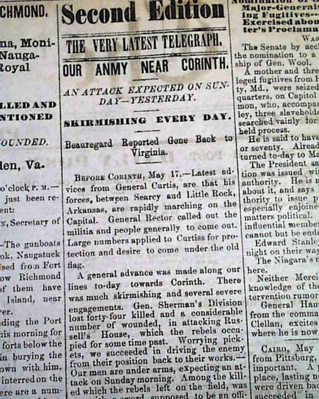 Corinth MS More 1862 Pittsburgh PA Civil War Newspaper