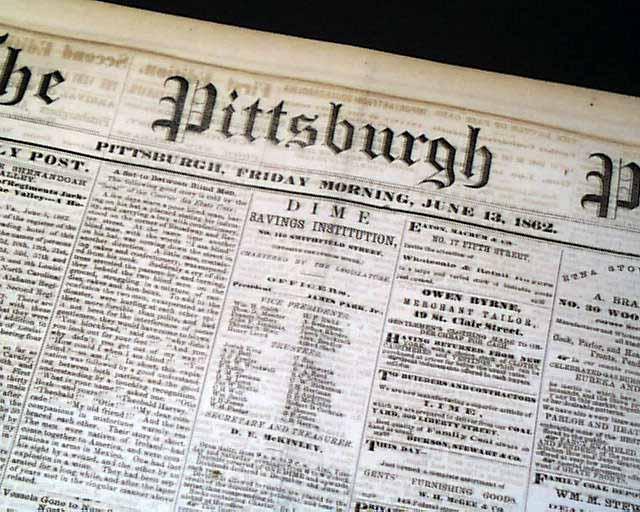 Dewrys Bluff VA 1862 Pittsburgh PA Civil War Newspaper