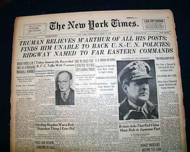 Truman Fires Macarthur Rarenewspapers Com