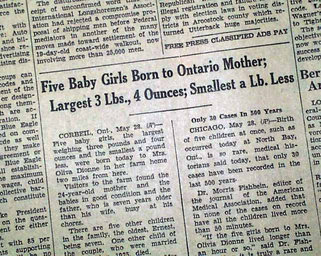 Image result for dionne quadruplets born in 1934 newspaper articles
