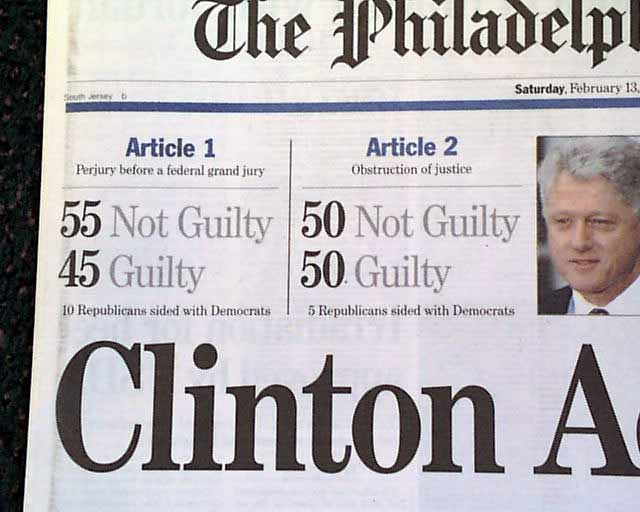President Clinton Acquitted... - RareNewspapers.com
