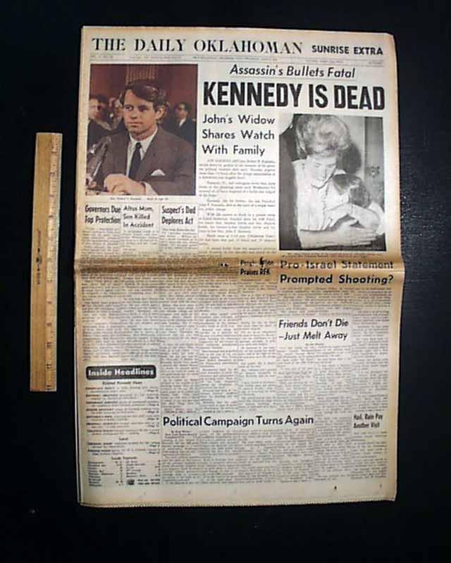 Go back gt gallery for gt rfk assassination newspaper