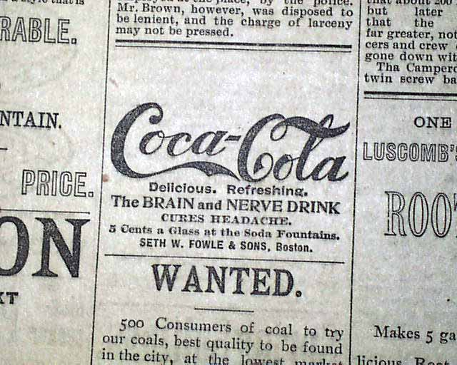 1893 coca cola ad on the front page rarenewspapers com