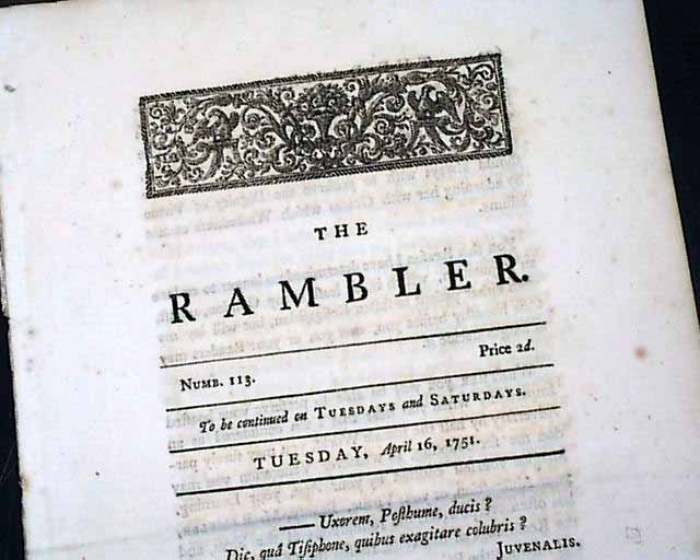 rambler essay samuel johnson The rambler was a periodical by samuel johnson contents [hide] 1  description 2 purpose  copies of the rambler were written in essay form and  were made cheaply available to the middle-class in his fourth section of the  rambler (31.