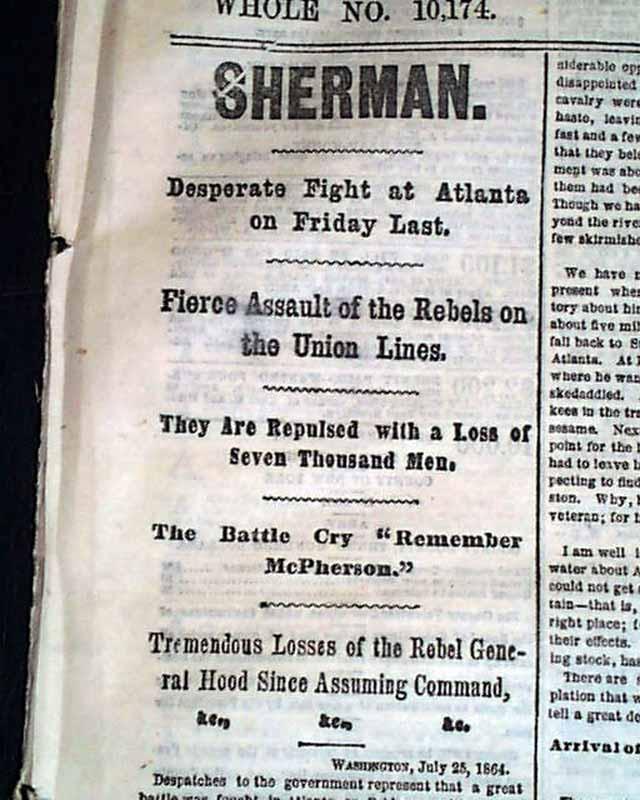 sherman at atlanta rarenewspaperscom