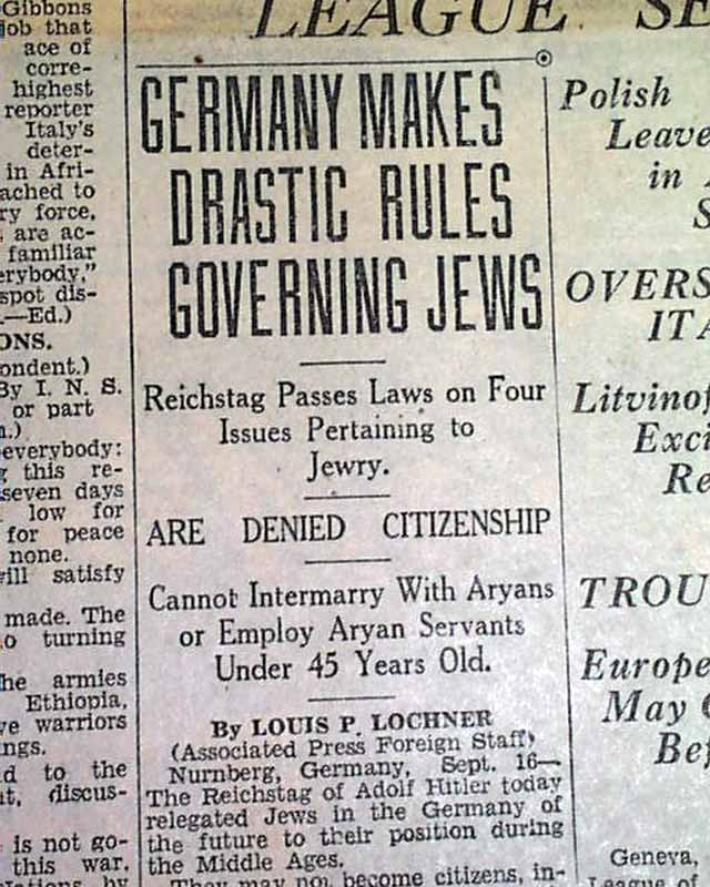 nuremberg laws against the jews essay The final solution--an essay by martin gilbert martin their jewishness had been defined by the german nuremberg laws of 1935 as any person with one jewish international protest against the deportation and killing of hungarian jews was then effective, but only because the tide.